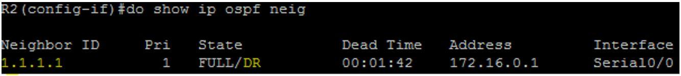 R2 OSPF Neighbor Table