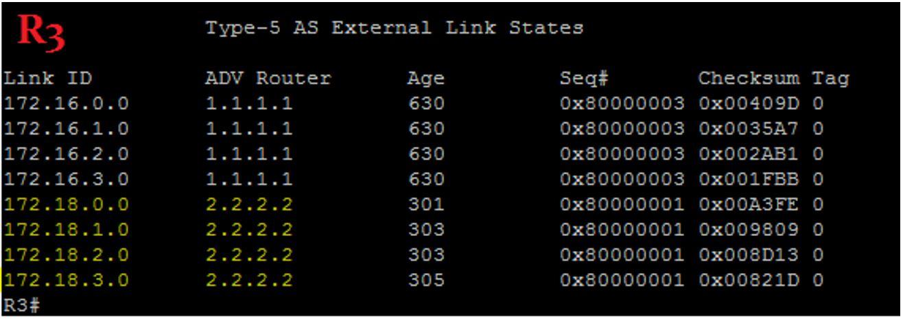 R3 OSPF Database