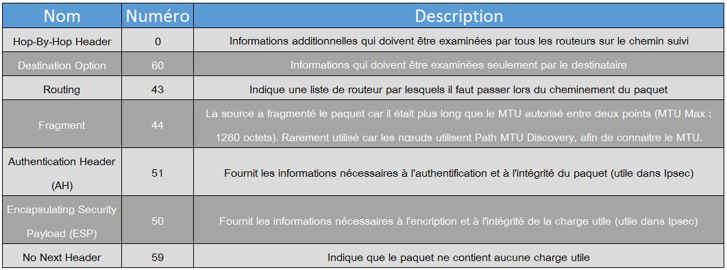 Extensions IPv6