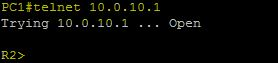 telnet 10.0.10.1