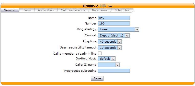 Xivo Configuration Group