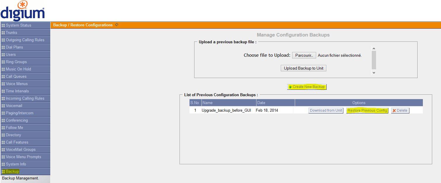 Asterisk GUI Sauvegarde Configuration