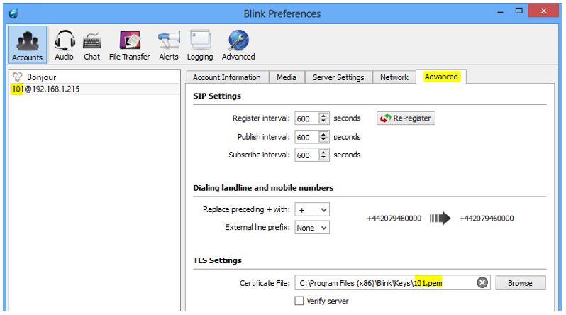 Blink TLS Configuration