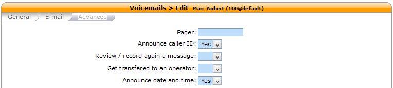 Xivo Configuration Voicemails
