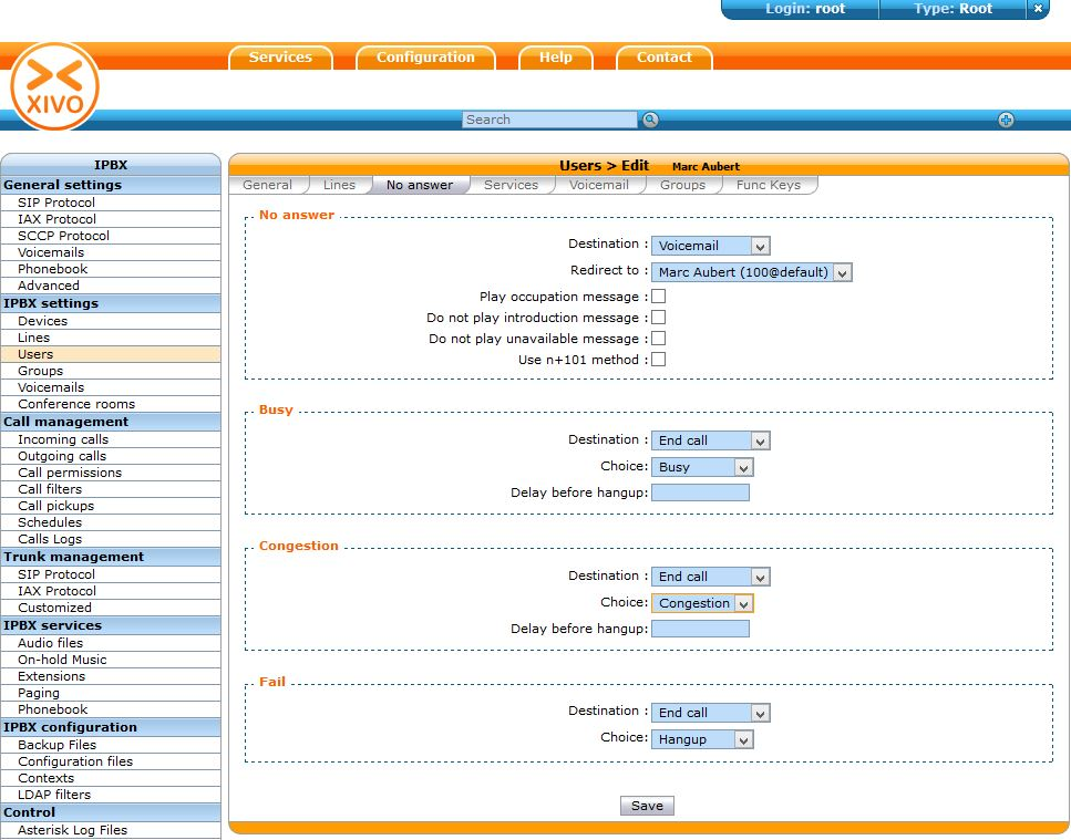 Xivo Configuration Users