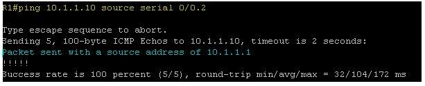 Ping 10.1.1.10 source serial 0/0.2