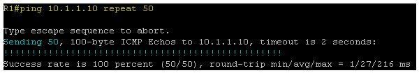 Ping 10.1.1.10 repeat 50