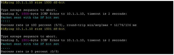 Ping 10.1.1.10 size 1500 df-bit