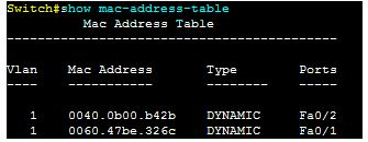 Show mac-address-table